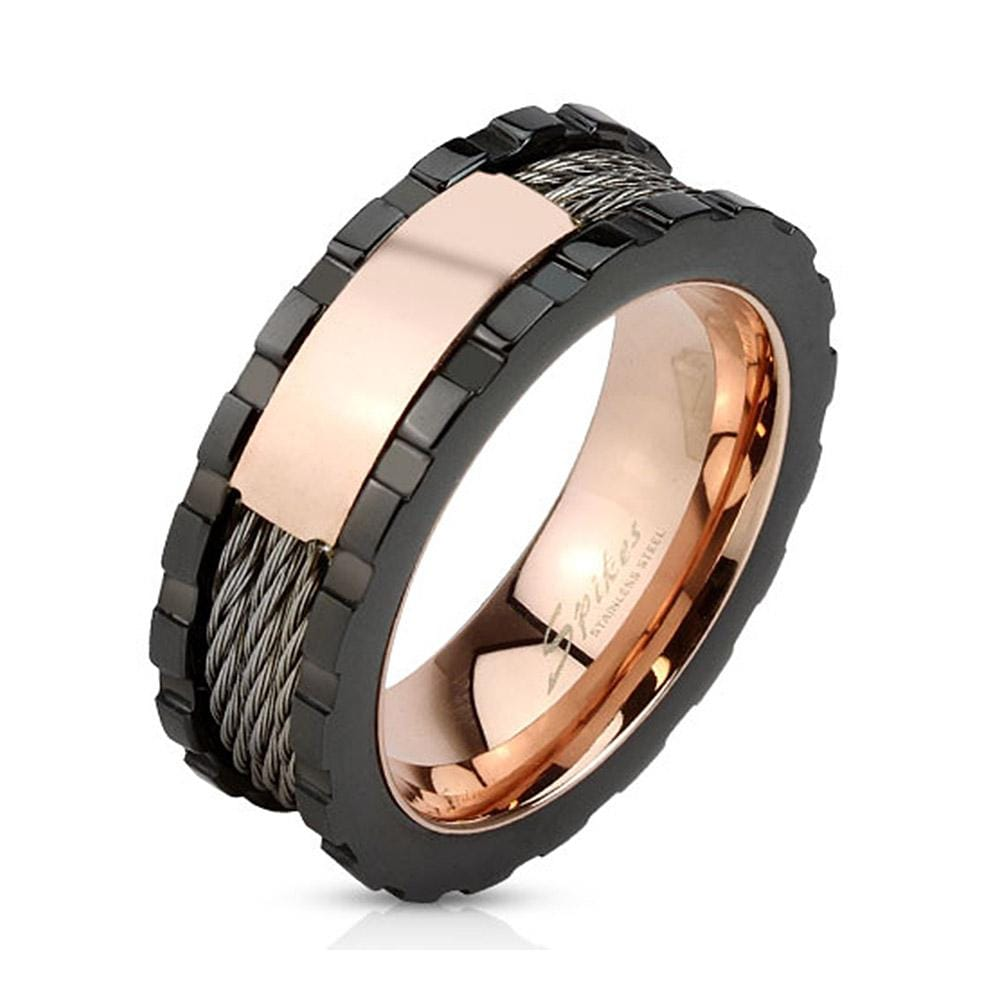 Wires and Rose Gold Middle Plate Black IP Stainless Steel Ring