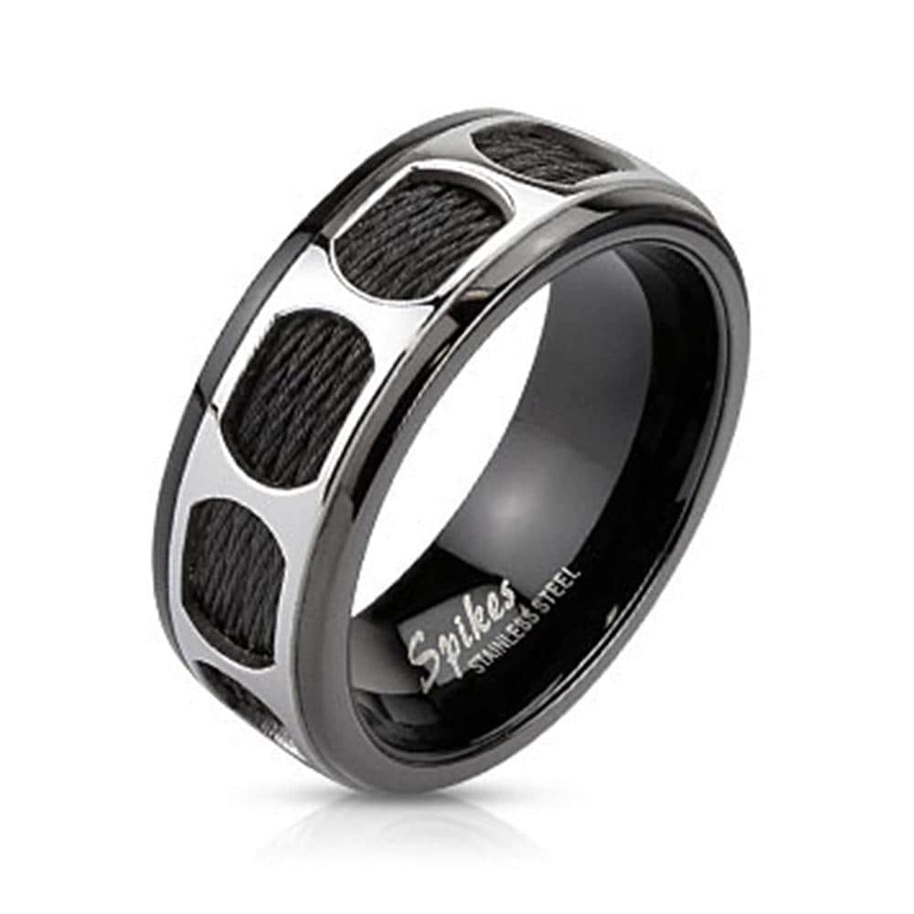Circular Pattern Over Black Wires Black IP Band Stainless Steel Ring