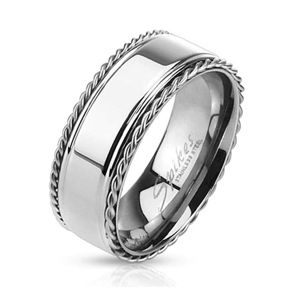 Stainless Steel Glossy Center Band Ring with Chain Edges