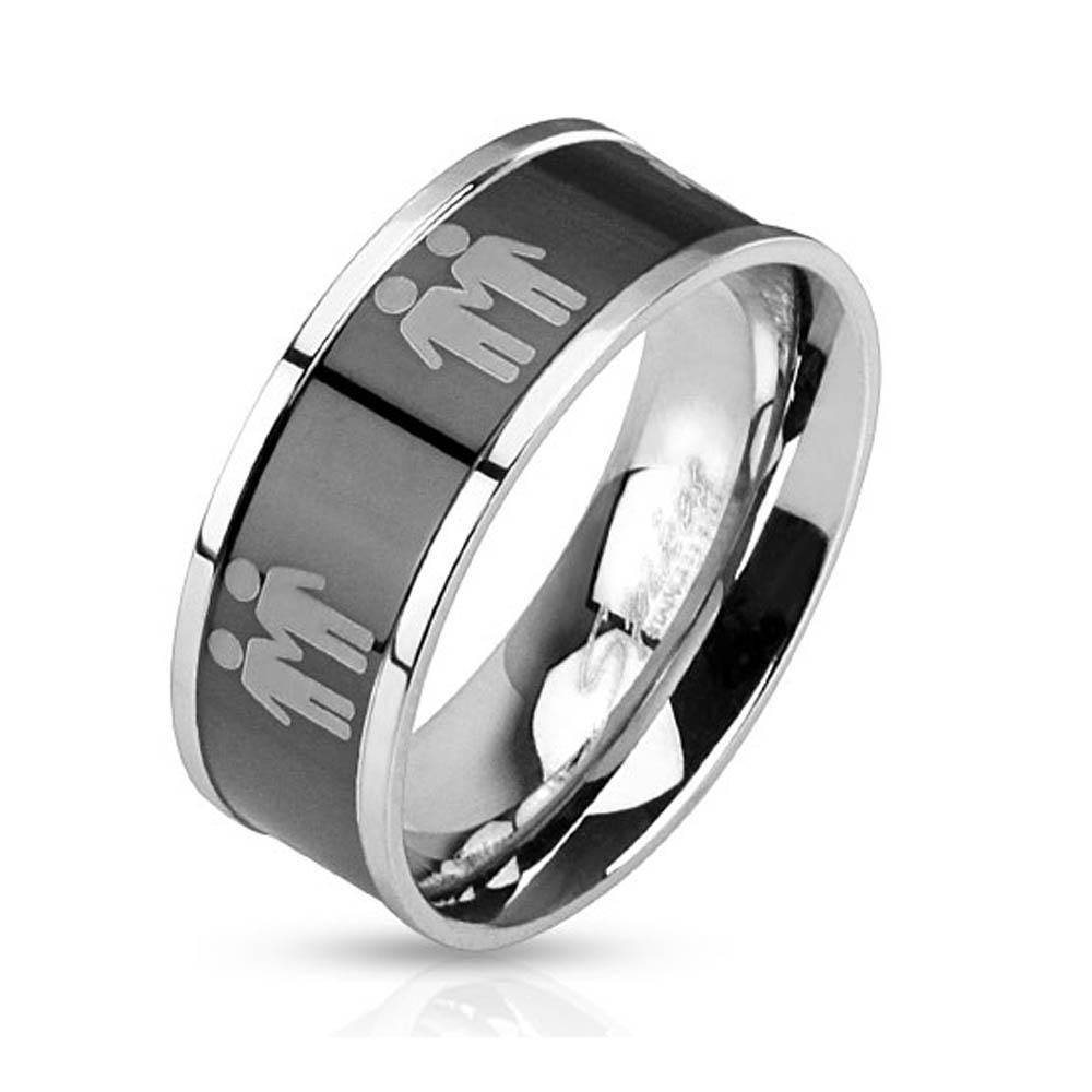 Two Male Symbols Black IP Center Stainless Steel Ring