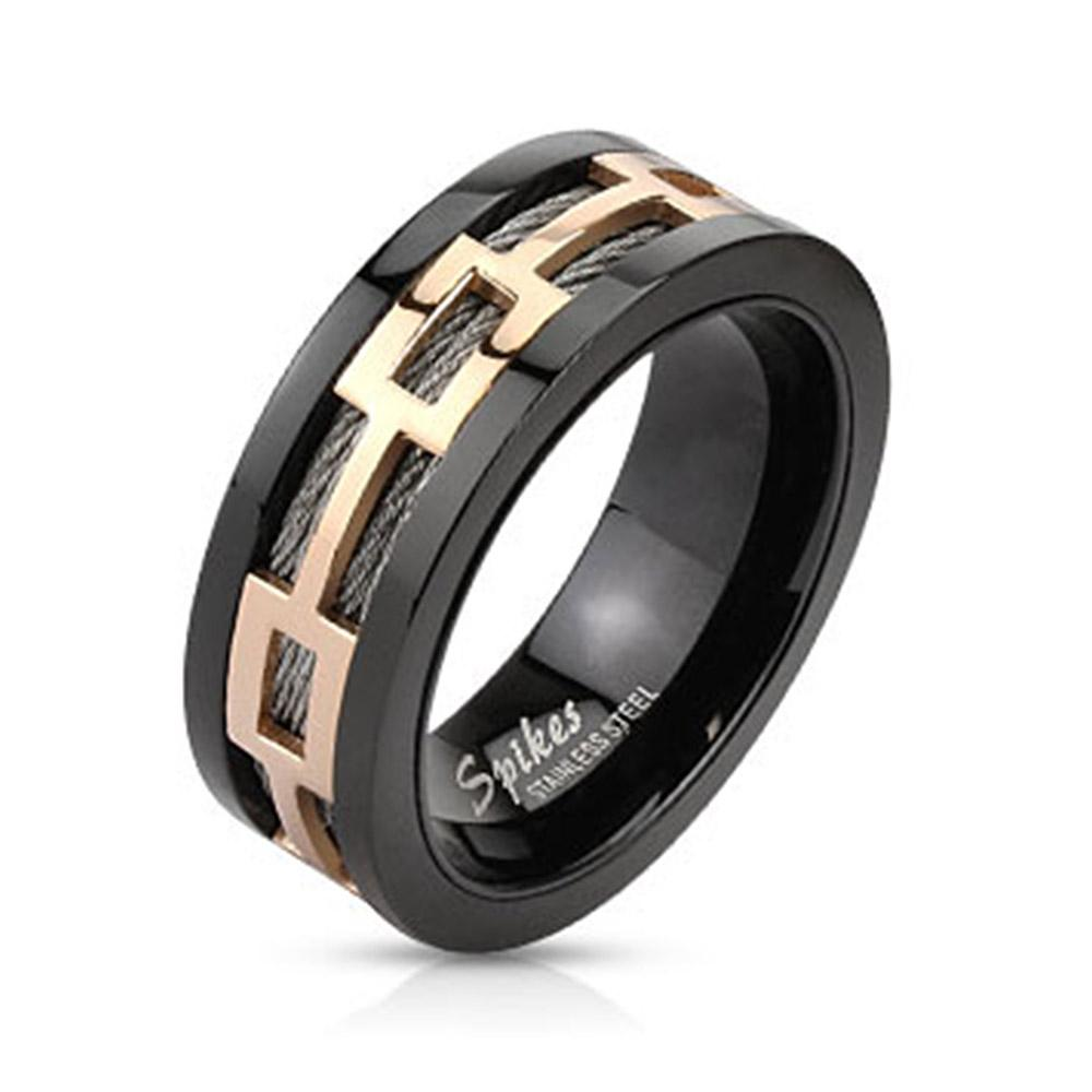 Rose Gold Hollow Rectangles Over Black Wires Black IP Band Ring