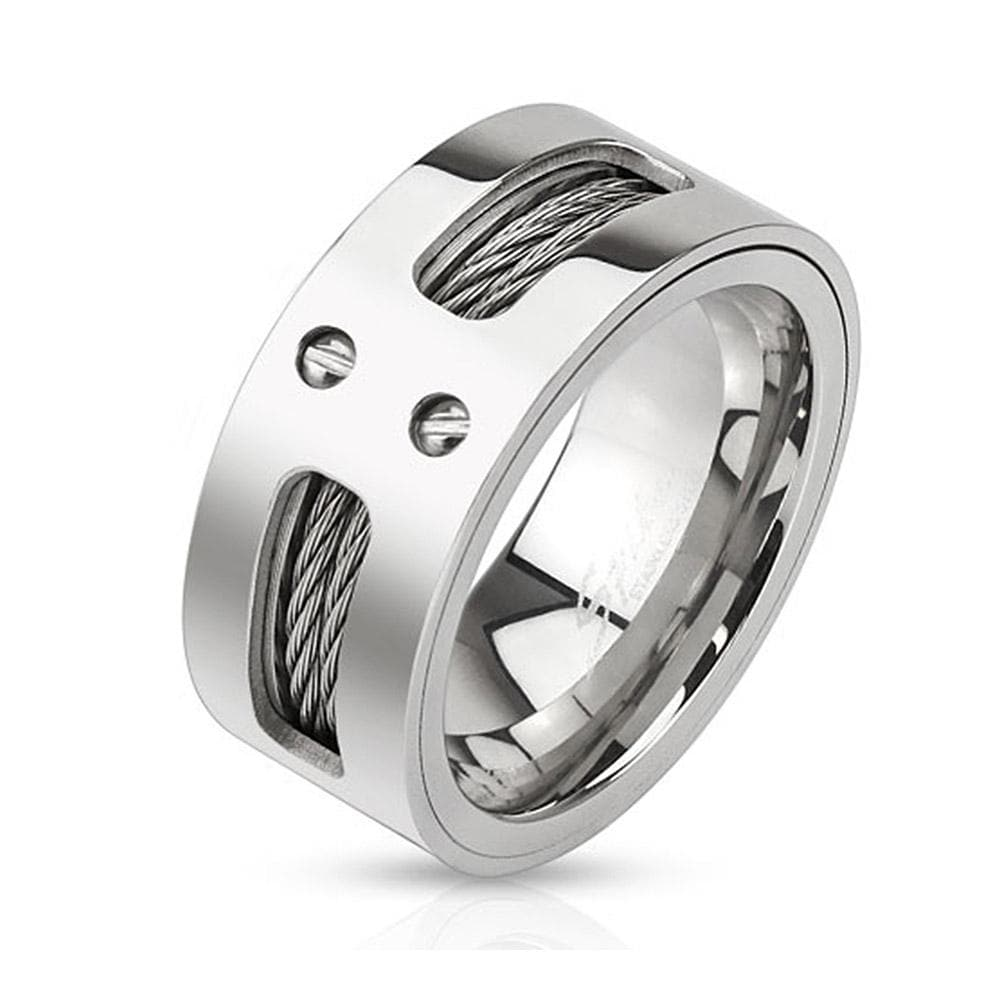 Double Wires Inlaid Stainless Steel Band Ring