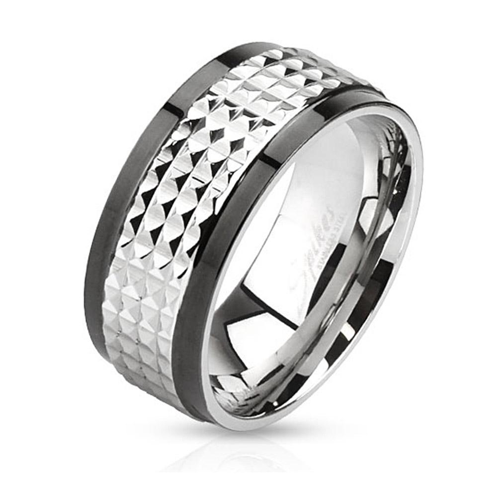 Spiked Center Two Toned Spinner Stainless Steel Ring