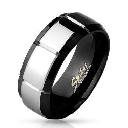 Shiny Polished Grooved Center Black IP over 316L Stainless Steel Ring - Thumbnail 0