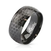 Honeycomb Patterned Dome Stainless Steel Ring Black IP