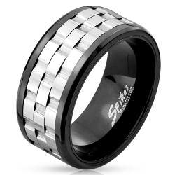 Two Tone Three Part Gear Black IP Stainless Steel Spinner Ring - Thumbnail 0