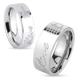 Lock & Key Love Engraved Stainless Steel Ring
