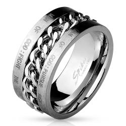 Chain Spinner Center with Bible Words Engraved 316L Stainless Steel Ring - Thumbnail 0