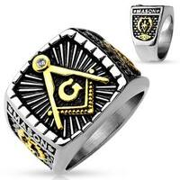 Gold IP and Burnish Steel 2-Tone Square Face Masonic Stainless Steel Casting Ring