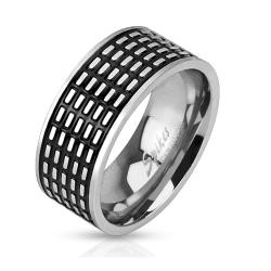 Square Grooved Black IP Center Band Stainless Steel Ring - Thumbnail 0