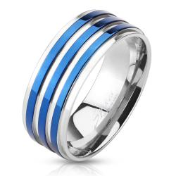 Blue IP Striped Stainless Steel Ring - Thumbnail 0