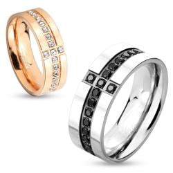 Eternity Gem Cross Stainless Steel Couple Ring