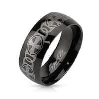 Chain Crosses Laser Etched Stainless Steel Black IP Band Ring