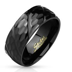 Black IP Honeycomb Diagonal Groove 316L Stainless Steel Ring