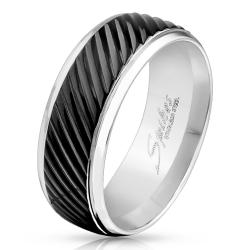 Diagonal Groove Black IP Lined Center Stainless Steel Band Ring - Thumbnail 0