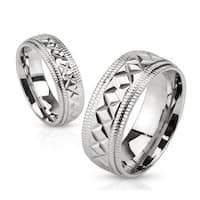 Multi-Diagonal Cut Center Stainless Steel Band Ring with Etched Edges