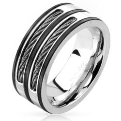 Double Cable Inlay Black Striped Stainless Steel Ring - Thumbnail 0