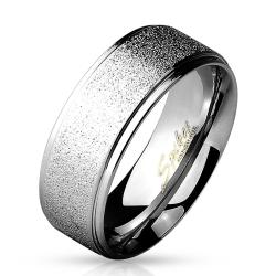 Sand Finish Center with Shiny Polished Stepped Edges 316L Stainless Steel Ring - Thumbnail 0