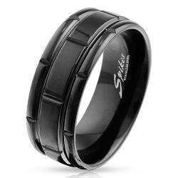 Box Grooved Black IP Stainless Steel Ring - Thumbnail 0