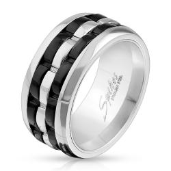 Two Tone Grooved Center Spinner Stainless Steel Ring - Thumbnail 0