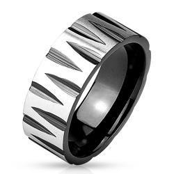 Faceted Groove Pattern Black IP Stainless Steel Ring