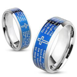 Lord's Prayer Blue IP Beveled Edge Stainless Steel Ring - Thumbnail 0