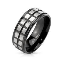 Square Groove Lines Brushed Center Stainless Steel Black IP Two Tone Band Ring