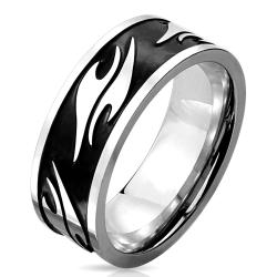 Tribal Pattern Black IP Stainless Steel Ring - Thumbnail 0
