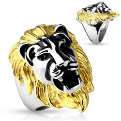 Gold Mane Lion Head Cast Ring 316L Stainless Steel - Thumbnail 0