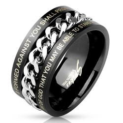 Center Chain Spinner with Bible Verses Black IP Stainless Steel Ring