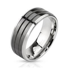 Triple Grooved Center Black IP Stainless Steel Band Ring with Beveled Edges - Thumbnail 0