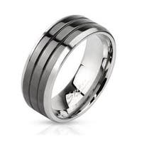 Triple Grooved Center Black IP Stainless Steel Band Ring with Beveled Edges