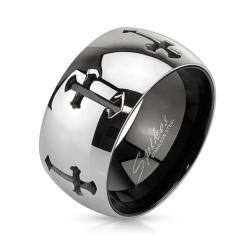 Grooved Crosses Two Tone Inner Black IP Over Stainless Steel Band Ring