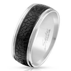Snake Pattern Black IP Center Stainless Steel Ring - Thumbnail 0