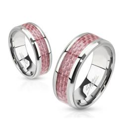 Pink Carbon Fiber Inlay Band Stainless Steel Ring - Thumbnail 0