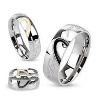 "Half Heart Two Toned with ""Real Love"" Engraved Dome Band Stainless Steel Ring"