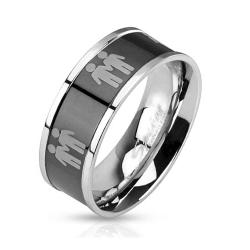 Two Male Symbols Black IP Center Stainless Steel Ring - Thumbnail 0