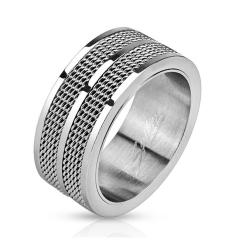 Double Line Mesh Screen Band Stainless Steel Ring - Thumbnail 0