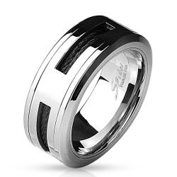 Black Cable Centered 316L Stainless Steel Ring - Thumbnail 0