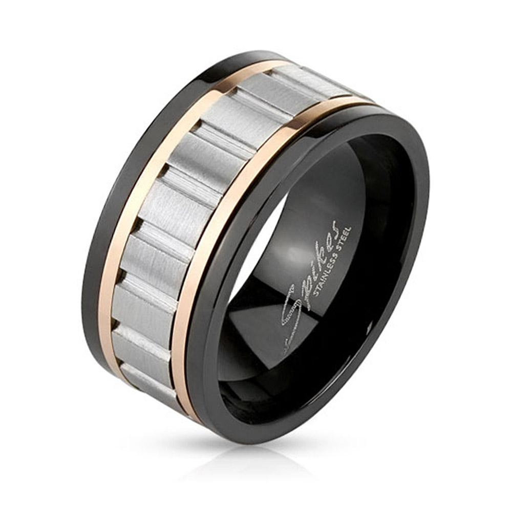 Tri Toned Stainless Steel Spinner Ring with Grooved Center
