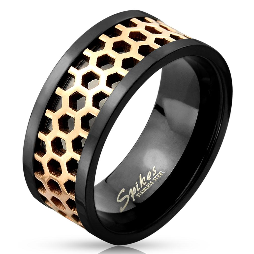 Two Tone Honey Comb Center Black IP Stainless Steel Ring