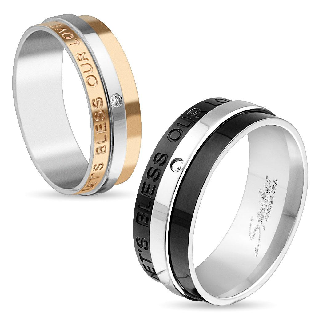 'Let's Bless Our Love' Engraved Two Tone IP Stainless Steel Ring