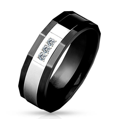 Two Tone Center Three CZs Faceted Edge Black IP Stainless Steel Ring