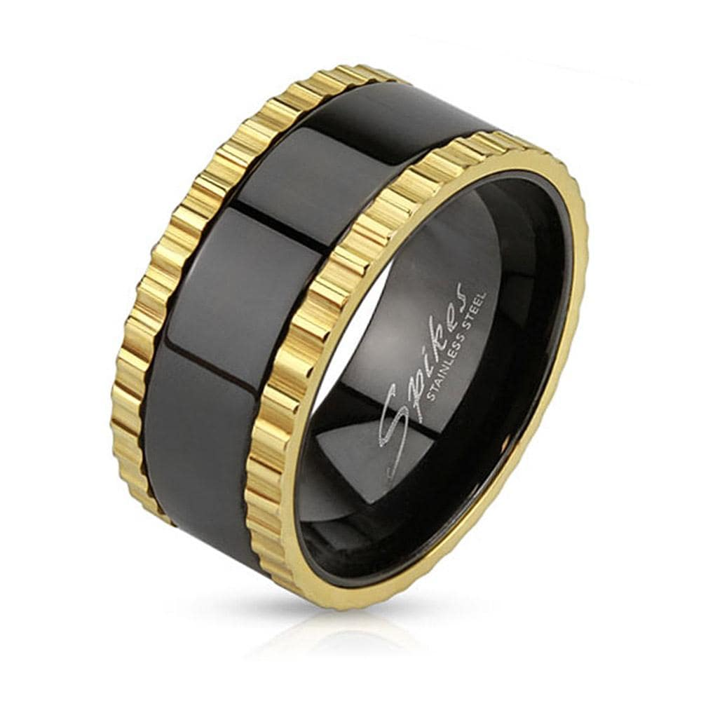 Saw Blade Gold IP Edged Stainless Steel Black IP Spinner Ring