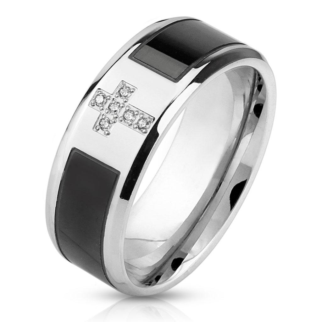 Black Strip Center with CZ Cross Stainless Steel Ring