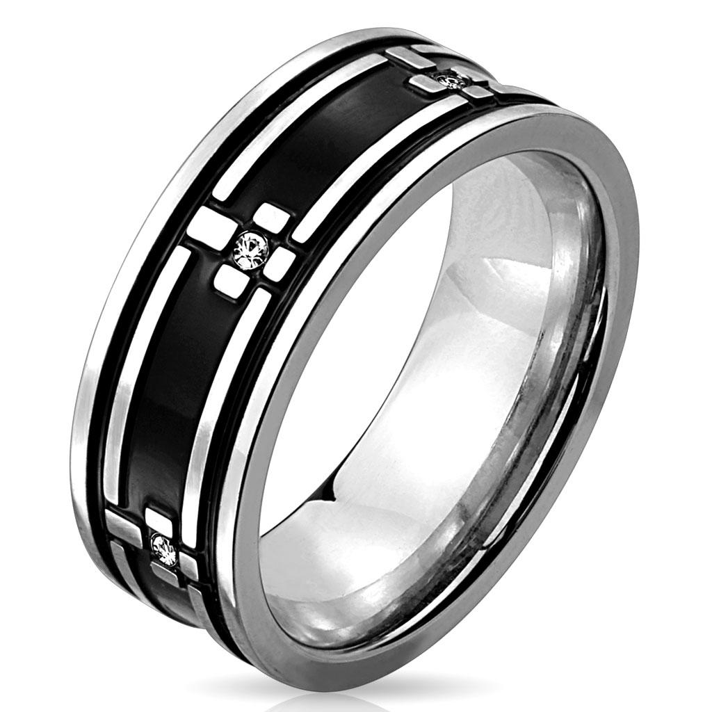 Cross Pattern with Clear CZ Black IP Stainless Steel Ring