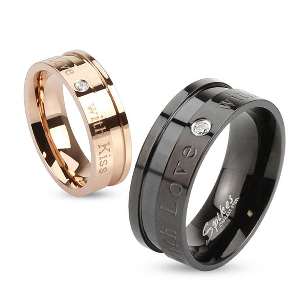 """""""With Love with Kiss"""" Inscribed Stainless Steel Ring with Single CZ"""