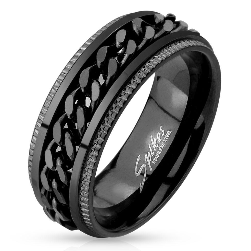 Black IP Grooved Edge Center Chain Stainless Steel Spinner Ring