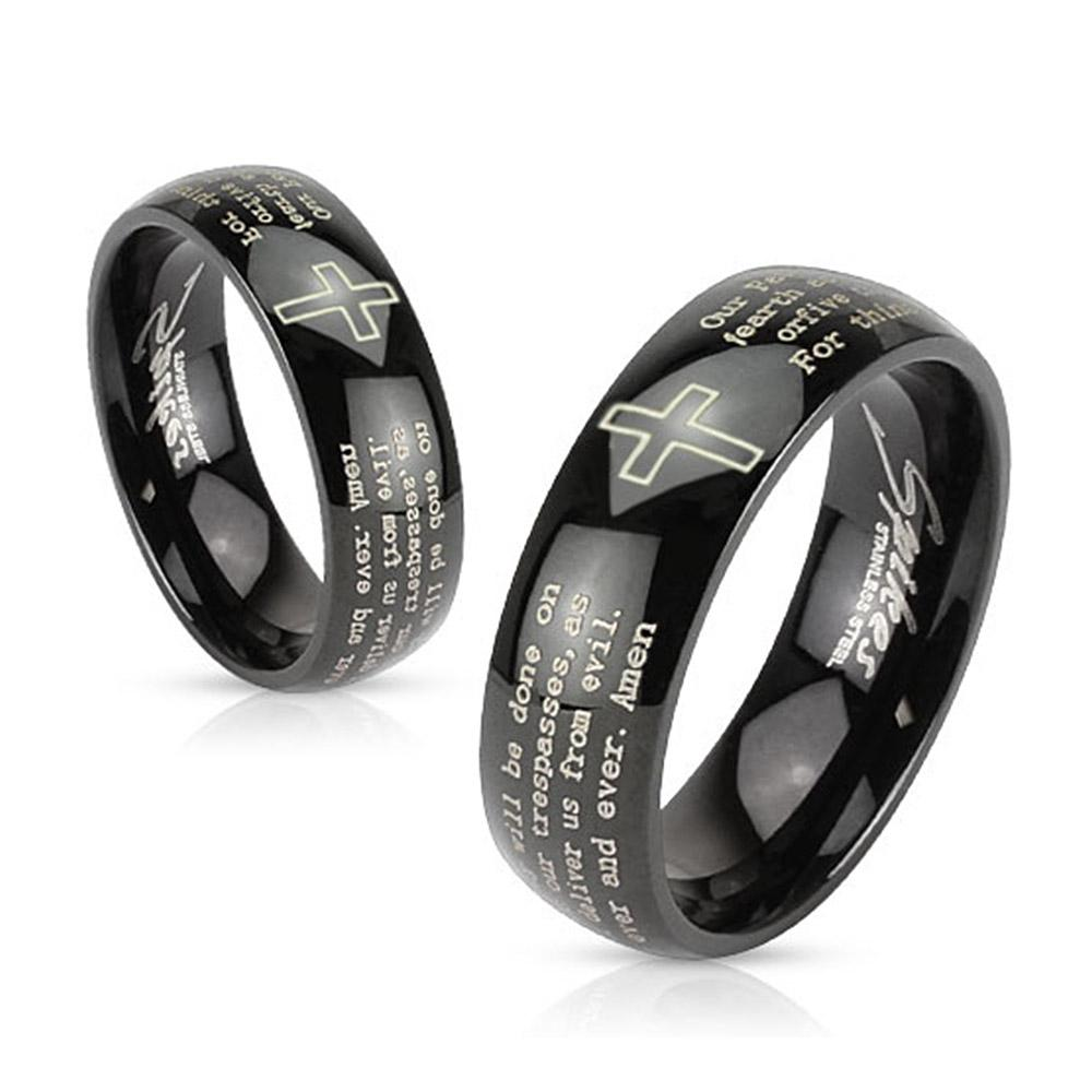 Cross and Lords Prayer Black IP 6mm or 8mm Stainless Steel Dome Band Ring