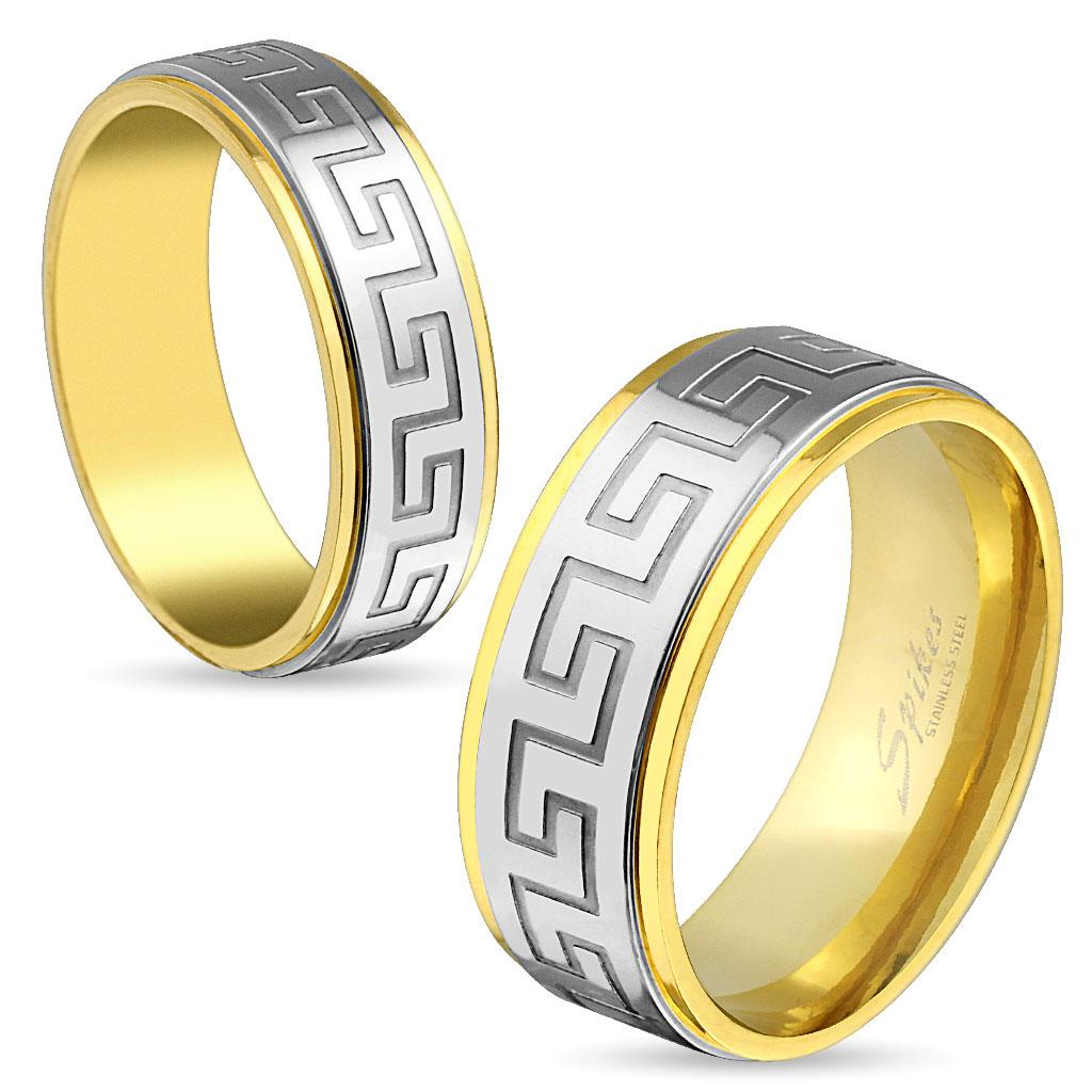 Maze Gold IP Stainless Steel Ring